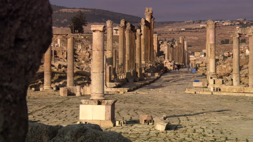 Gate to ancient theater in the ruins of Jerash in Jordan