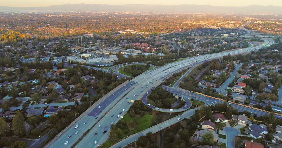 Aerial view over freeway in Silicon Valley Cupertino