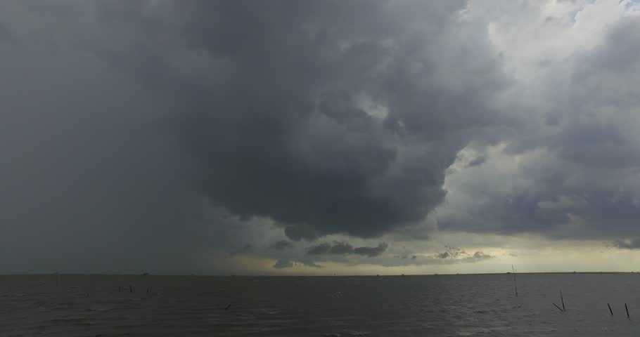 Rain cloud before heavy storm, Summer storm raining, cloudscape and the black sea. | Shutterstock HD Video #26776036