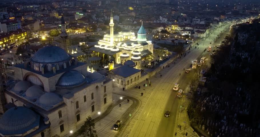 Aerial view of the konya in Turkey, mystical dance, Sufi whirling dervish (Semazen)