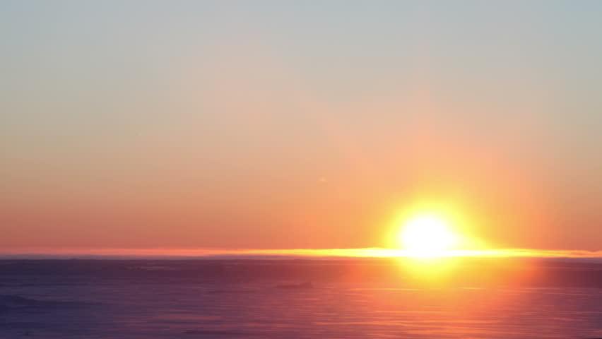 Sunrise Over Frozen Sea Ice near Nome, Alaska, Time Lapse