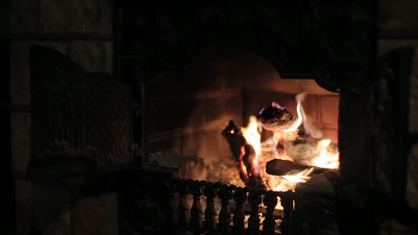 Burning Fireplace Making Coziness At Stock Footage Video 100