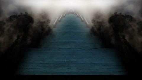 Temple of the Sun, stairways through mountain fog, Zen buddha abstract