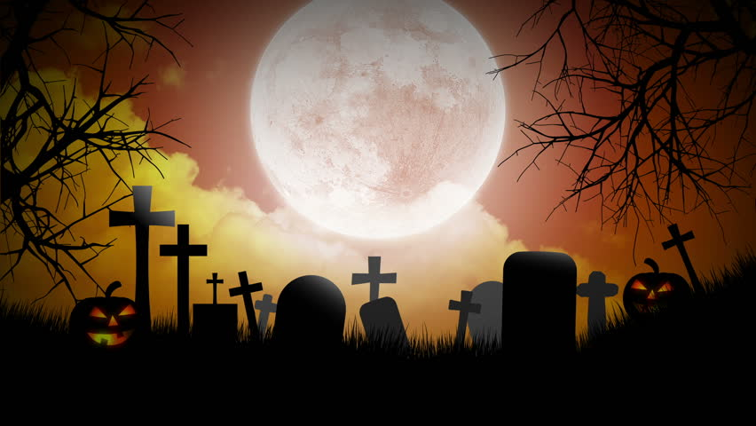 Halloween Background With Pumpkins Moon And Graveyard