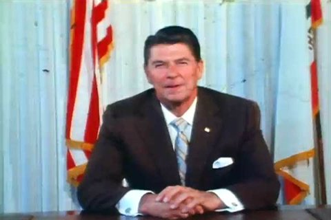 1980s: President Ronald Wilson Reagan announces his drug prohibition campaign, the War on Drugs, sitting at a desk, in an office, in California, in 1982.
