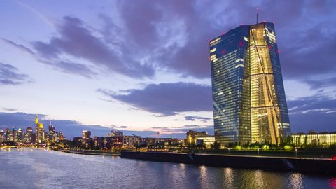 Frankfurt, Germany - April 2017: Evening timelapse of the new building of European Central Bank headquarters