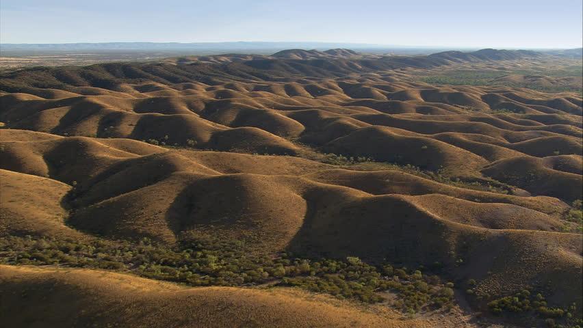 Over a landscape of sand dunes near Alice Springs, Australia
