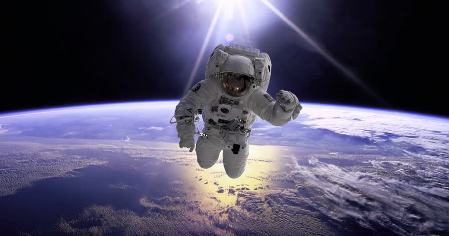 Astronaut Spacewalk EVA Over Earth Animation in Zero Gravity, 4K some elements furnished by NASA images