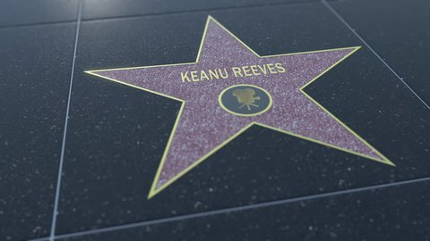 Hollywood Walk of Fame star with KEANU REEVES inscription. Editorial 4K clip