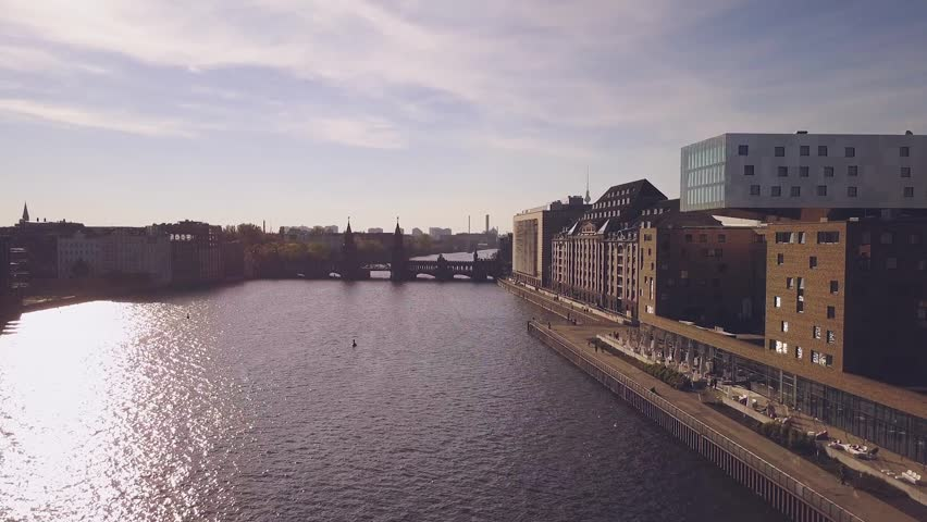 Aerial view of Berlin over the Spree river at Friedrichshain