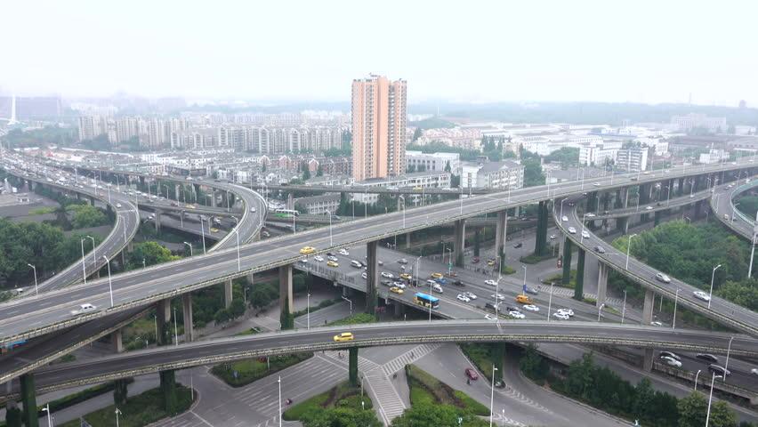 Heavy traffic on Nanjing Highway Interchange, China, Asia | Shutterstock HD Video #27002206