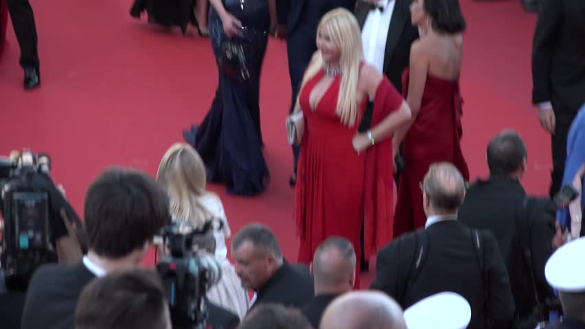 Monika Bacardi In Red Dress On The Carpet At Opening Ceremony Of Cannes 2017