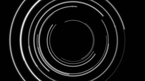 Abstract black and white tech circles motion background. Video seamless looping animation Ultra HD 4K 3840x2160