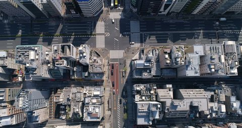Aerial top shot of Tokyo street and buildings, urban area, Japan
