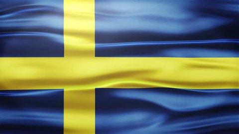 Realistic Seamless Loop Flag of Sweden Waving In The Wind With Highly Detailed Fabric Texture.