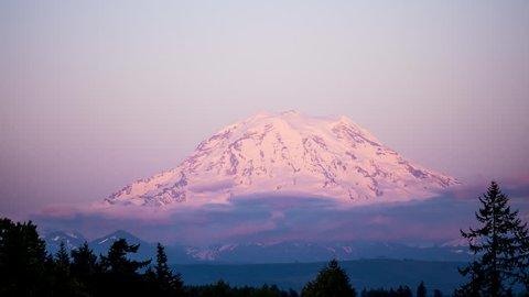 Mount Rainier Sunset Twilight Time Lapse