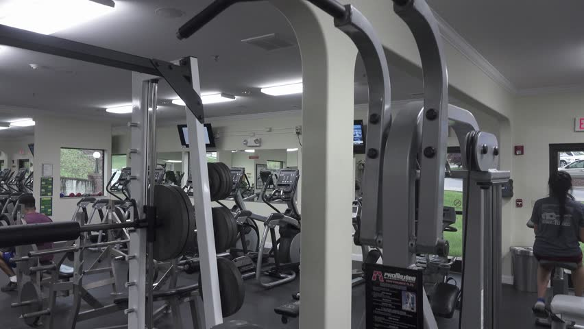 Crane shot of interior of fitness center | Shutterstock HD Video #27100234