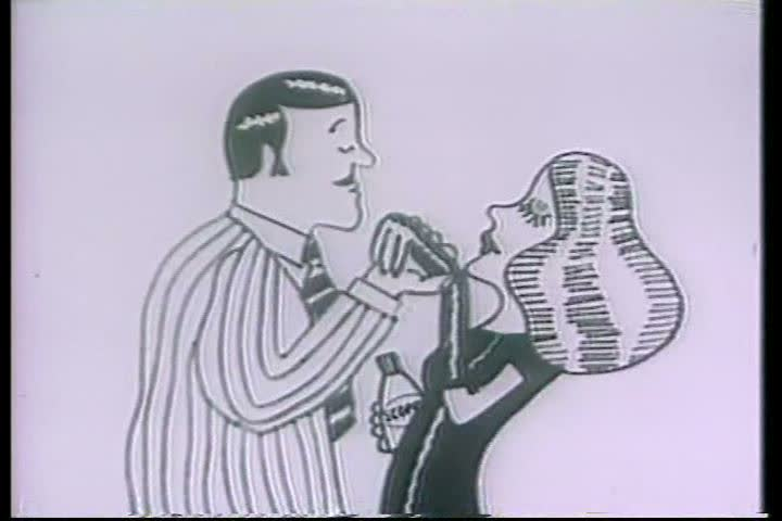 1960s: Various couples kiss and embrace in an animated television commercial for Scope mouthwash, in 1965.