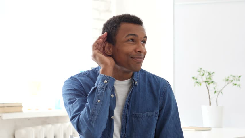 Listening Carefully Afro-American Man, Portrait | Shutterstock HD Video #27117556