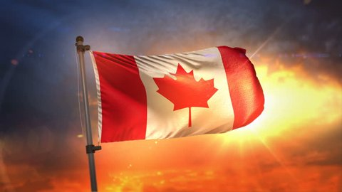 Canada Flag Backlit At Beautiful Sunrise Loop Slow Motion 3D Rendering 4K