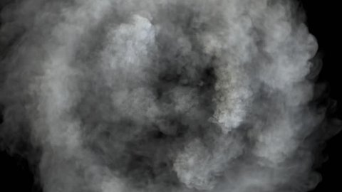 Smoke in circular motion, expands towards the camera. Twisting smoke. Separated on pure black background, contains alpha channel.