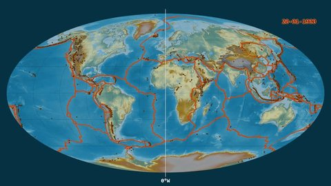Major earthquakes (1900-2017) on the global relief map in the Mollweide projection. Prime meridian circulation from 0 longitude degree. Tectonic plates borders and volcanoes