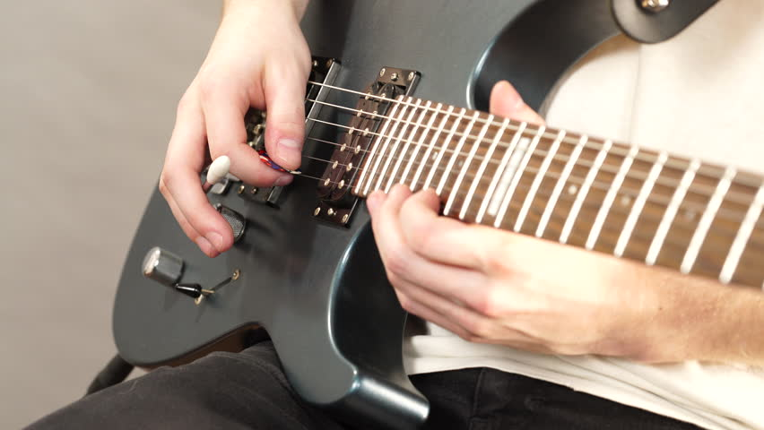 Male Hands With Electric Guitar Stock Footage Video 100 Royalty