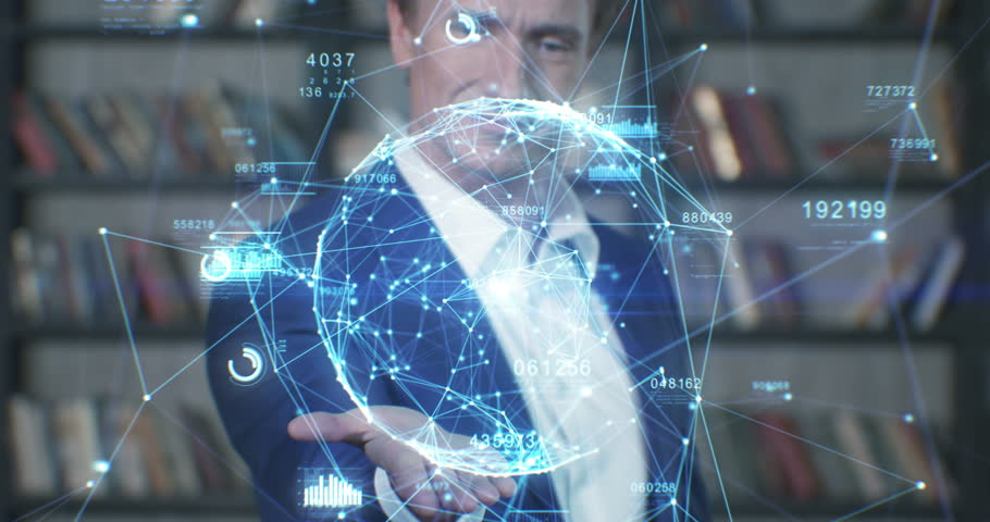 Beautiful Hologram Slow Motion Portrait Successful Businessman Working with Futuristic Technological Blue Hologram Analyzing Data. Business Concept. Businessman Series 4K UHD 4096x2160 3d animation. | Shutterstock HD Video #27167386