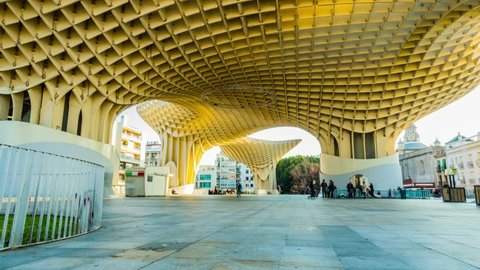 SEVILLA, SPAIN - JANUARY 25 2017: Metropol Parasol (Las Setas de la Encarnacion, Incarnation's mushrooms) is wooden structure by German architect Mayer located in old quarter in Andalusia, Spain