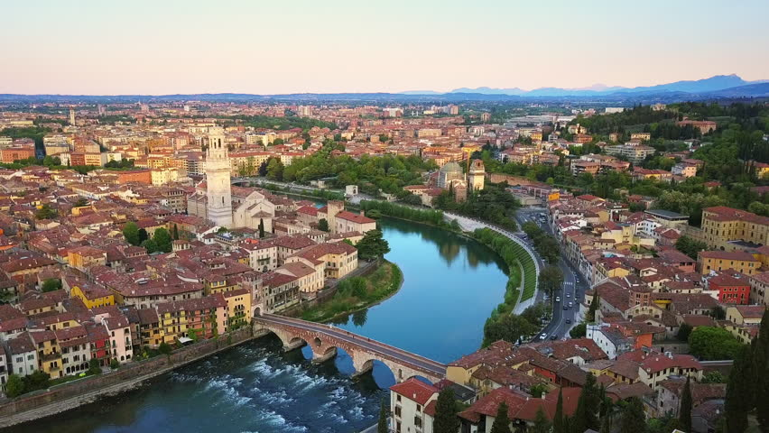 Verona aerial view at sunrise flying over ponte pietra bridge | Shutterstock HD Video #27195436