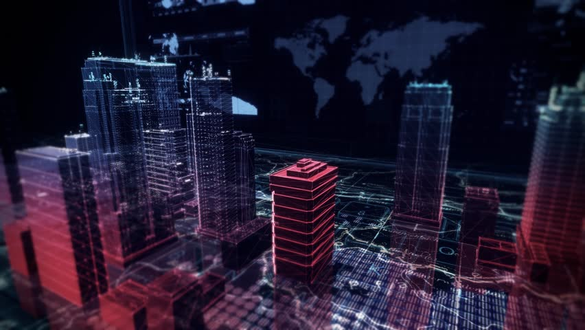 Cyber Attack Simulation over Holographic Buildings with Futuristic Infographics | Shutterstock HD Video #27204184