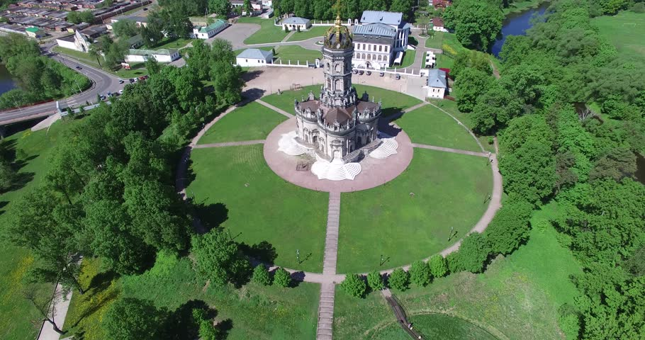 4K aerial drone video with view of beautiful vintage architecture of Dubrovitsy Estate, views of The Church Of The Holy Virgin in surroundings of Podolsk town in central Russia, south of Moscow