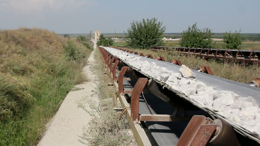 Long conveyor belt transporting stones to the manufacturing plant about 5 miles