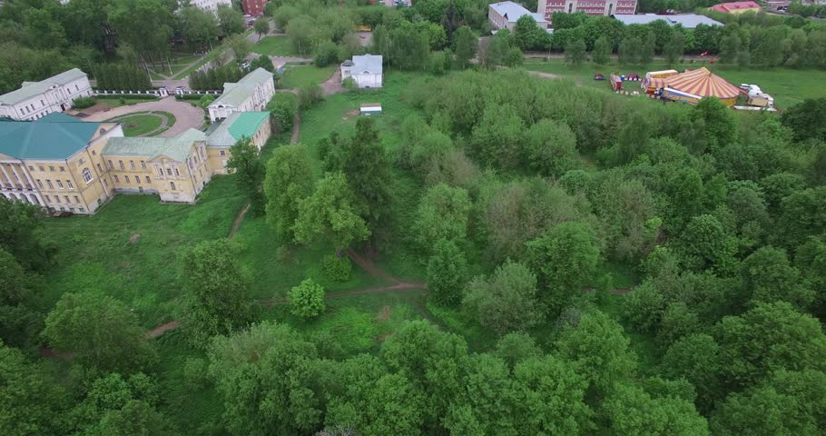 Aerial drone video with view of beautiful vintage architecture of Ivanovskoye Estate, views of main house and park in outskirts of Podolsk town in central Russia, south of Moscow | Shutterstock HD Video #27234526