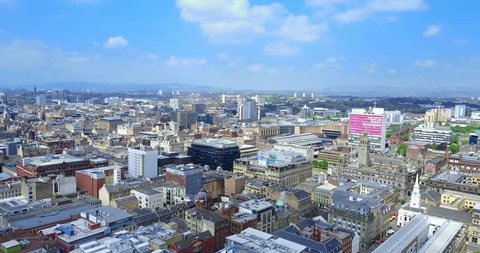 Aerial views of Glasgow in 4K, Scotland, UK.