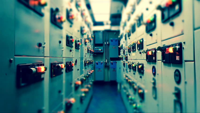 Timelapse Of Electrical Switchgear Room Industrial Stock Footage Video  100  Royalty