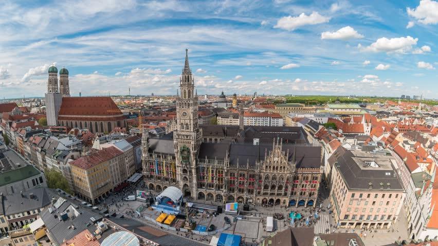 Munich city skyline timelapse at Marienplatz New Town Hall Square, Munich, Germany, 4K Time lapse