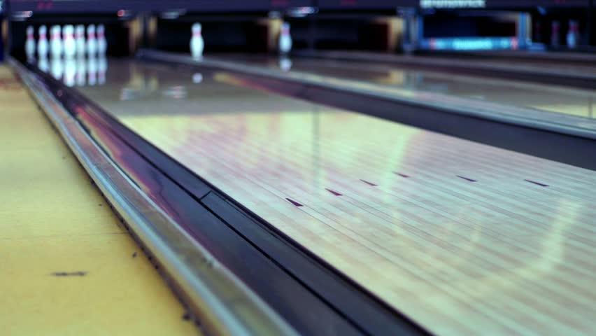 Bowling Ball On Bowling Lane Stock Footage Video (100