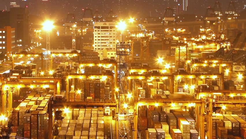 Hong Kong Container Terminal at Night - Hong Kong Kwai Tsing Container Terminals