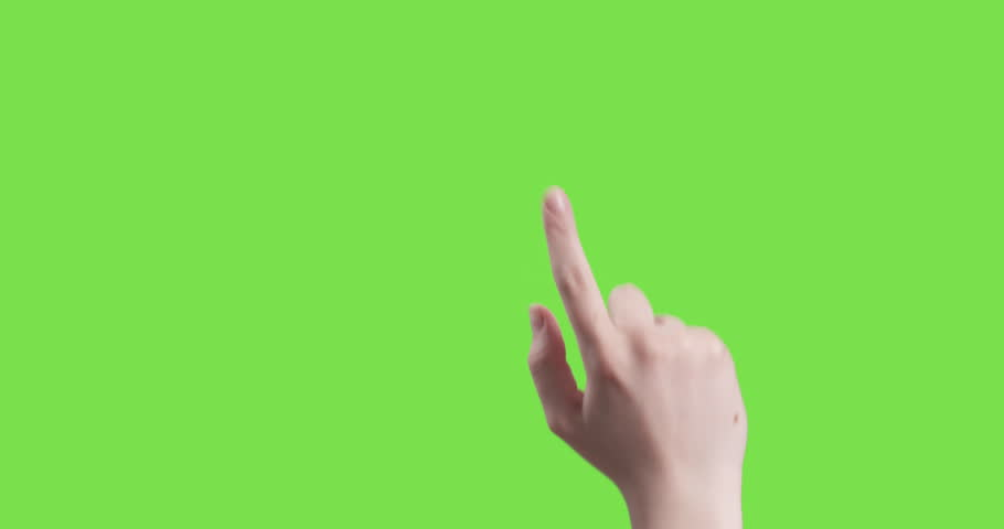16 young female hand touch gestures on green screen, 4k prores footage