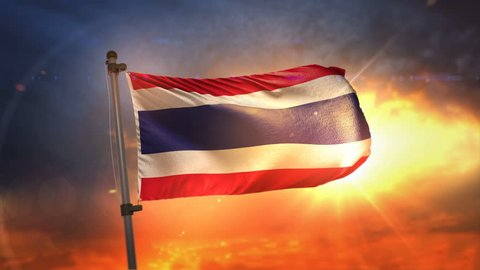 Thailand Flag Backlit At Beautiful Sunrise Loop Slow Motion 3D Rendering 4K