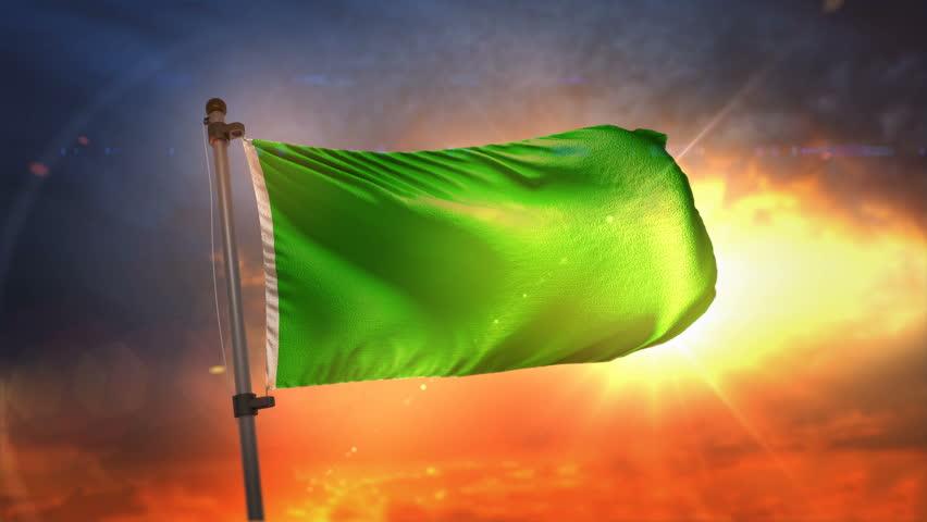 Green Flag Backlit At Beautiful Sunrise Loop Slow Motion 3D Rendering 4K | Shutterstock HD Video #27482110