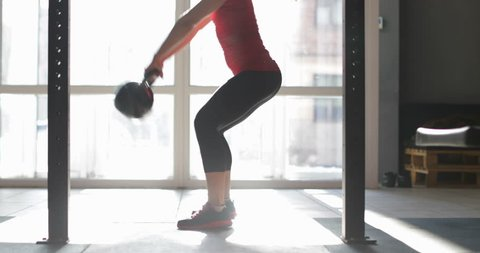 Young Athlete Woman Doing Kettlebell Exercise During Workout Training At Gym, Girl Atletic Fitness
