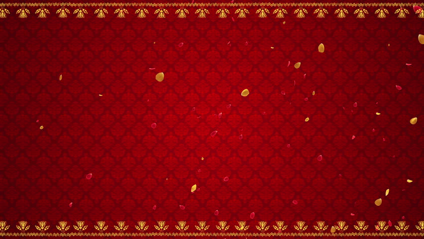 Flying Flower Petals Traditional Indian Design and Pattern Indian Wedding Theme Motion Background Seamless Looping Red Maroon Golden Gold