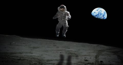Astronaut Jumping on Moon Surface Apollo Mission Earth in Distance some elements furnished by NASA images