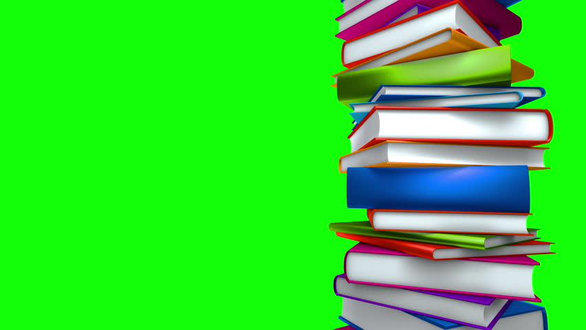 Colorful Books Stack (Loop on Green Screen). Colorful books piled. Seamless loop, with copy space on greenscreen.