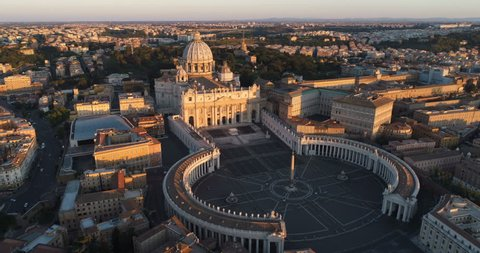Aerial view of Rome skyline cityscape with Vatican City landmark at sunrise