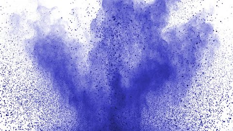 Blue powder exploding on white background in super slow motion, shot with Phantom Flex 4K