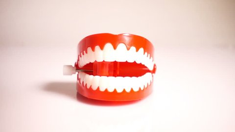 Chattering Teeth Toy, CU, Slow Motion