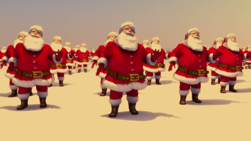 Santas dancing